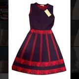 Anthropologie Dresses   Nwt Allison Blue Red Knit A-Line Fit Flare Dress S   Color: Blue/Red   Size: S