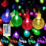 WENFENG Led Color Changing Outdoor String Lights for Patio, 125 Led Waterproof Crystal Bubble Globe String Lights with Remote, Indoor String Lights for Bedroom, Party Decoration (Multi-Colored, 80)