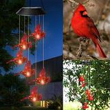 Solar Hummingbird Wind Chimes with LED Lights, Cardinal Color Changing Waterproof LED Solar Light Spinners Spiral String Hanging Outdoor Garden Decorations Solar Powered (Hummingbird-B)