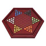HIUHIU Chinese Checkers Game Set with Wooden Board&Glass Marbles, Classic Puzzle Toys, Traditional Strategy Board/Party Game for Adults, Boys and Girls