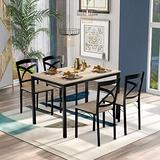 STARTOGOO 5 Piece, Industrial Wooden Metal Frame and 4 Chairs, Table Set for Home, Kitchen, Dining Room, Oak