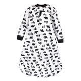 Hudson Baby Boys' Infant Sleeping Sacks Bear - Black & White Bear Cabin Quilted Long-Sleeve Wearable Blanket - Infant