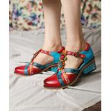 Iliyah Women's Mary Janes red - Red & Blue Floral Leather Mary Jane - Women
