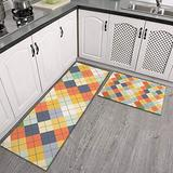Farmhouse Style Kitchen Rugs and Mats Non Skid Washable Anti Fatigue Personalized Red Kitchen Decoration Rug Can Be Used in Living Room, Bedroom Kitchen Mats for Floor 2 Piece Set