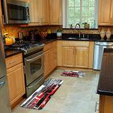 FOURFOOL 2 Pcs Kitchen Mat Set,Black and White Picture with Red London Bus Non-Slip Kitchen Mats and Rugs Soft Flannel Non-Slip Area Runner Rug Washable Durable Doormat Carpet