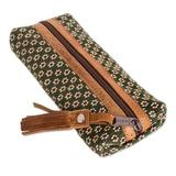 Leather-accented cotton pencil case, 'Green Ditsy'