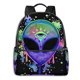 SWEET TANG Back to School Gift - Travel Hiking Backpack Gym Outdoor Hiking Bag Big Capacity Rucksacks Alien Trippy Painting School Shoulder Book Bags for Teen Boys and Girls