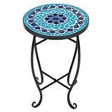 Table Mosaic Ceramic Blue Indoor Outdoor Garden Patio Cafe Side Table-Coffee Table-Patio Furniture-Side Table-Folding Table-Outdoor Furniture-Dining Table Set-Kitchen Table-Dining Table
