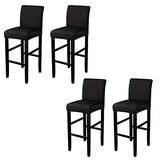 BTSKY 4 Pack Stretch Chair Cover Slipcovers, Counter Height Bar Stool Covers Dining Room Kitchen Barstool Cafe Furniture High Seat Chair Protectors Black