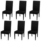 INMOZATA Chair Covers for Dining Room Set of 6, Spandex Fabric Fit Stretch Dining Chair Covers, Washable Removable Parson Chair slipcovers for Hotel,Ceremony,Banquet, Wedding Party (Black)