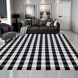 SEEKSEE 100% Cotton Buffalo Plaid Rug 8'x10' Black and White Retro Lattice Checkered Outdoor Rug Washable Hand-Woven Area Rug for Living Room, Kitchen, Dining Room, Bedroom