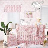 Brandream Baby Girl Pink Unicorn Nursery Bedding Princess Crib Bedding Set with Rainbow Cloud Printed 11 Piece Christmas Baby Bedding, 100% Cotton