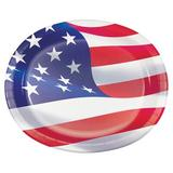Creative Converting American Flag Oval Paper Plates 24 Count Heavy Duty Paper | Wayfair DTC349607OVAL