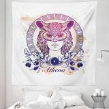 """East Urban Home Ambesonne Athena Tapestry Queen Size, Circular Greek Myths Woman In An Owl, Wall Hanging Bedspread Bed Cover Wall Decor, 88"""" X 88"""""""