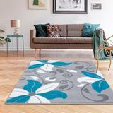 Persian-rugs Victoria Oriental Turquoise Area Rug Polypropylene in Blue, Size 88.0 H x 62.0 W x 0.5 D in | Wayfair 9242 Turquoise 5x7