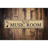 "Winston Porter Music Room Name Sign Wall Decor Metal in Brown, Size 4"" H x 18"" W x 0.04"" D   Wayfair 6E89E7FCEF3E4CDCA7AA41036A179D6A"