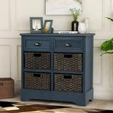 Rosalind Wheeler Sideboard Console Table w/ Bottom Shelf, Farmhouse Wood/Glass Buffet Storage Cabinet Living Room (Antique Navy) Wood in Blue