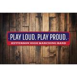 Gracie Oaks Play Music Sign Wall Decor Metal in Blue/Red, Size 4.0 H x 18.0 W x 0.04 D in   Wayfair 397EA5600427454CBFF428053FBD6AB5