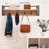 17 Stories Wall Mounted Coat Rack Shelf Wood/Metal in Brown, Size 8.9 H x 31.6 W x 7.9 D in | Wayfair AD54159FC6C74BCCB528655795BF9707