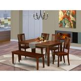 Red Barrel Studio® Jalicia 6 - Piece Rubberwood Solid Wood Dining Set Wood in Brown/Red, Size 30.0 H in   Wayfair 8C54FA66D77D47638427364E3A58C65D