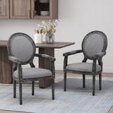 Laurel Foundry Modern Farmhouse® Vickie King Louis Back Arm Chair Wood/Upholstered/Fabric in Gray, Size 40.5 H x 24.5 W x 26.0 D in   Wayfair