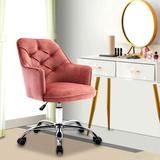 Rosdorf Park Modern Mid-Back Tufted Velvet Swivel Task Chair w/ Height Adjustable Home Office Desk Chair w/ Soft Padded & Casters Upholstered