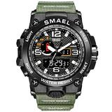 Men's Analog Sports Watch, LED Military Wrist Watch Dual Dial Digital Outdoor Watches Electronic Malfunction Water Resistant Calendar Day Date (Army Green)