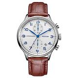 Men's Wrist Watches Japanese Quartz Watch for Men Waterproof Analog Watch with Genuine Leather and White Dial Luxury Classic Elegant #R0133 (Silver&Brown)