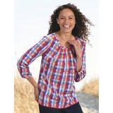 Women's Summer Plaid Cotton Top, Multi L Misses