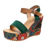 Women's Wedges Sandal Summer Espadrille Sandals Peep Toe Fashion Beach Cork Wedge Sandals Ankle Strap Open Toe Sandals with Rubber Soles Size,Green,38