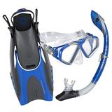 U.S. Divers Adult Cozumel TX Island Dry Snorkeling Combo Set with Adjustable Mask, Snorkel, and Small/Medium Fins (Men's 4-8.5/Women's 5-9.5), Blue