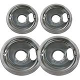 4 Pack Stainless Steel Reflector Bowls Universal Drip Pan Kits Gas Stove Burner Rings for Whirlpool W10278125