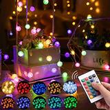 Crystal Globe String Lights,33FT 100 LED Crackle Ball String Lights,Globe Crystal Fairy String Lights for Bedroom with USB Plug Control,for Indoor,Outdoor,Wedding,Party,Stairs,Dating(16 Colors)