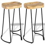 Tidyard 2 Piece Bar Stools Mango Wood Seat Barstool Industrial Counter Height Pub Chairs Set Iron Legs for Kitchen, Dining Room, Bistro, Cafe Home Furniture 16.1 x 17.3 x 29.9 Inches (L x W x H)