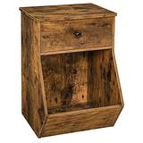 HOOBRO Nightstand, Side End Table with Flip-Door Drawer and Tilting Storage Box, Toy Storage Cabinets for kids bedroom, Living room, Wood Accent Sofa Table, Sturdy and Stable, Rustic Brown BF32BZ01