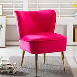 SSLine Modern Velvet Accent Chair,Upholstered Mid Century Leisure Sofa Chair with Gold Metal Legs and Thickly Padded,Armless Wingback Club Chairs Arm Chair for Living Room Bedroom Furniture (Fuchsia)