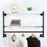 Industrial Pipe Clothing Rack Wall Mounted with Real Wood Shelf,Pipe Shelving Floating Shelves Wall Shelf,Rustic Retail Garment Rack Display Rack Cloths Rack,42in Steam punk Commercial Clothes Racks