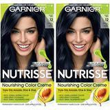 Garnier Nutrisse Nourishing Permanent Hair Color Cream, 12 Natural Blue Black (2 Count) Black Hair Dye