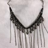 Free People Jewelry | Free People Womens Ball Chain Fringe Necklace | Color: Black/Silver | Size: Os