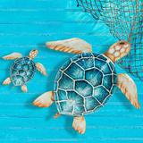Oceania Sea Turtle Wall Sculptures Blue Set of Two, Set of Two, Blue