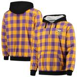 Men's Purple/Gold Minnesota Vikings Large Check Sherpa Flannel Quarter-Zip Hoodie Jacket