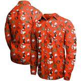 Men's Orange Cleveland Browns Winter Explosion Long Sleeve Woven Button-Up Shirt