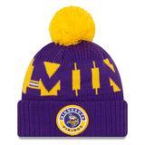 Men's New Era Purple/Gold Minnesota Vikings 2020 NFL Sideline Official Sport Pom Cuffed Knit Hat