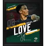 """Green Bay Packers Jordan Love Fanatics Authentic Framed 15"""" x 17"""" 2020 NFL Draft Day Collage - Facsimile Signature"""