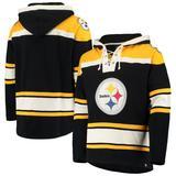 Men's '47 Black/Gold Pittsburgh Steelers Lacer V-Neck Pullover Hoodie