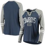 Women's '47 Navy/Gray Dallas Cowboys Stamp Fade Full Time Lace-Up Raglan Long Sleeve T-Shirt