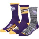 Men's For Bare Feet Minnesota Vikings Stimulus 3-Pack Crew Socks Set