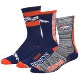 Men's For Bare Feet Denver Broncos Stimulus 3-Pack Crew Socks Set