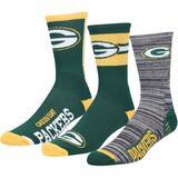 Men's For Bare Feet Green Bay Packers Stimulus 3-Pack Crew Socks Set