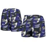 Men's FOCO Purple/Black Baltimore Ravens Geo Print Swim Trunks